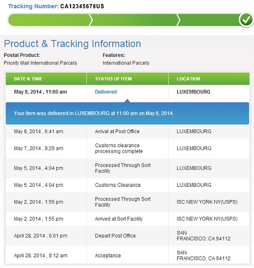 USPS International Tracking Shipments