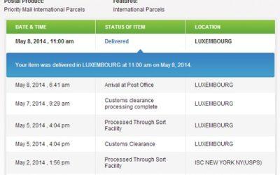 USPS International Tracking Shipments
